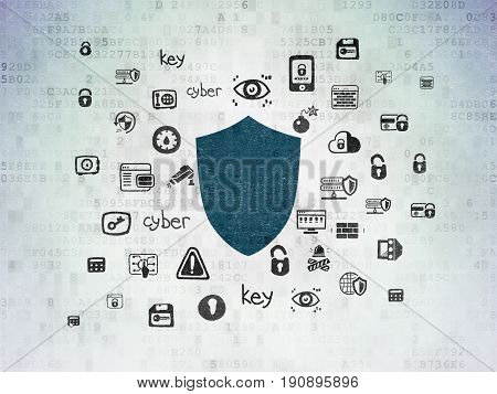 Privacy concept: Painted blue Shield icon on Digital Data Paper background with  Hand Drawn Security Icons