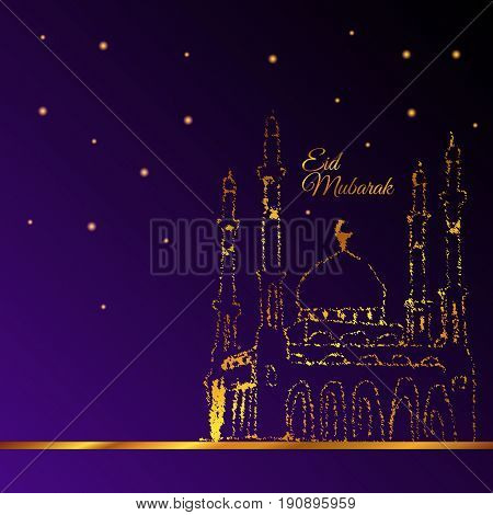 Illustration Of Eid Mubarak And Aid Said Greeting Moubarak And Mabrok For Muslim Community Festival