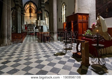 MANAROLA Italy June 4 2017 : Inside the church of Manarola in the Cinque Terre National Park. The Cinque Terre area is a very popular tourist destination and a world heritage site.