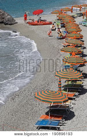 MONTEROSSO Italy June 5 2017 : A beach of the Italian Riviera. The Cinque Terre (meaning