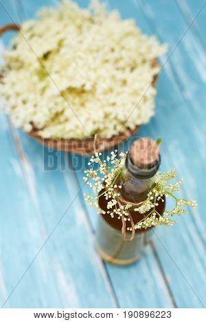 Top View Of Homemade Elderflower Syrup