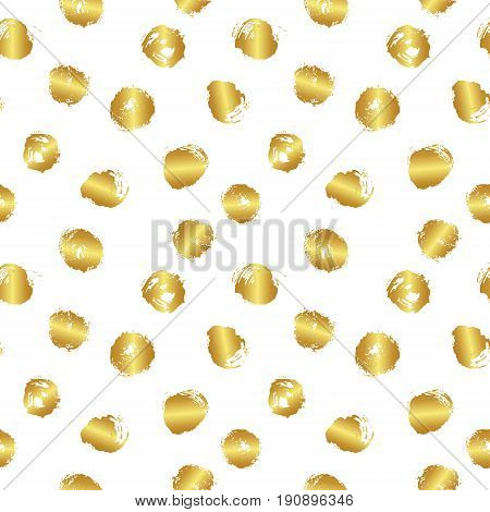 Vector seamless pattern with brush blots and circle. Gold gradient color on white background. Hand painted grange texture. Ink geometric elements. Fashion modern style. bright splash.