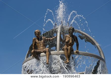 DOLE France May 25 2017 : The fountain on Place Grevy represents the Doubs and the Loue rivers in Dole Jura France