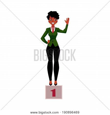 Black, African American businesswoman standind on pedestral, success, victory concept, cartoon vector illustration isolated on white background. Standing on pedestal as symbol of successful career