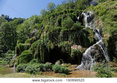 Waterfalls landscape in the Baume Les Messieurs valley