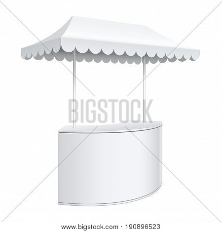 Promotion counter on wheels and a triangular roof covered with awning Retail Trade Stand Isolated on the white background. MockUp Template For Your Design. Vector illustration.