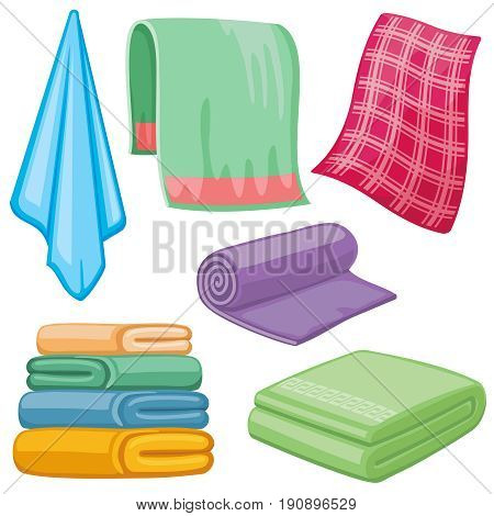 Cartoon towels vector set. Cloth towel for bath, illustration of cartoon fabric towel for hygiene
