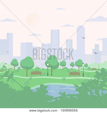 City park on high-rise buildings background. landscape with trees, bushes, lake, birds, lanterns and benches. Colorful vector square illustration in flat cartoon style
