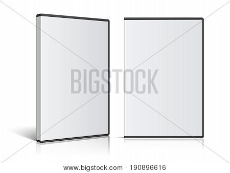 Cool Realistic Case for DVD Or CD Disk. Front view and perspective view Vector Illustration