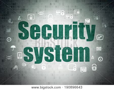 Security concept: Painted green text Security System on Digital Data Paper background with  Hand Drawn Security Icons