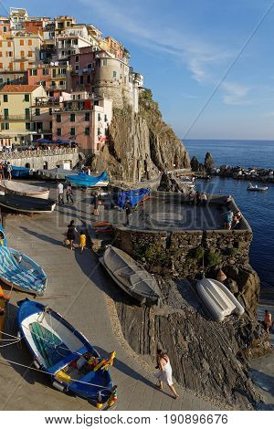 Manarola, Italy, June 2, 2017 : The Marina In A Village Of The Cinque Terre National Park On The Ita