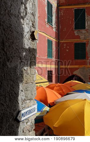 Vernazza, Italy, June 4, 2017 : Small Street In The Marina Of Vernazza, A Cinque Terre National Park