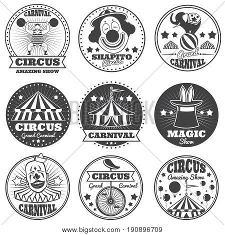 Vintage magic circus labels. Holiday show carnival vector badges and logos. Show carnival retro label, illustration of vintage festival circus badge