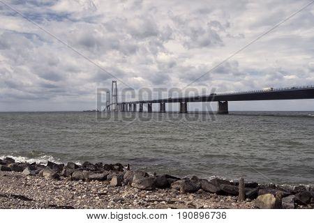 Suspension bridge over Great Belt in Denmark. Connecting Zealand and Funen.