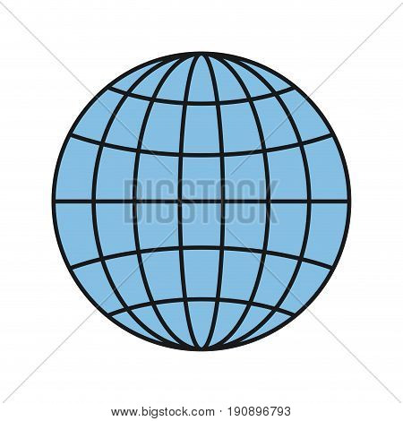 colorful silhouette front view globe earth world chart with lines vector illustration