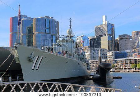 SYDNEY AUSTRALIA - MAY 30, 2017: Unidentified people visit HMAS Vampire in Darling Harbour. HMAS Vampire  is one of the first all welded ships built in Australia.