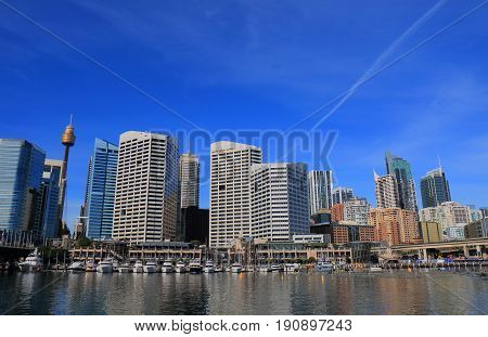 Darling Harbour in downtown Sydney cityscape Australia