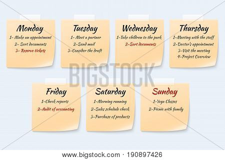 Weekly job plan on sticky notes, ugent work event paper memo vector set. Week reminder planner, remember agenda on stationery yellow sticky notes illustration