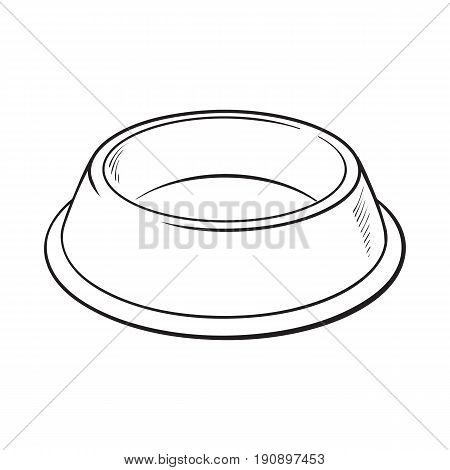 Empty green shiny plastic bowl for pet, cat, dog food, black and white sketch style vector illustration isolated on white background. Hand drawn empty bowl, plate for pet, dog, cat food