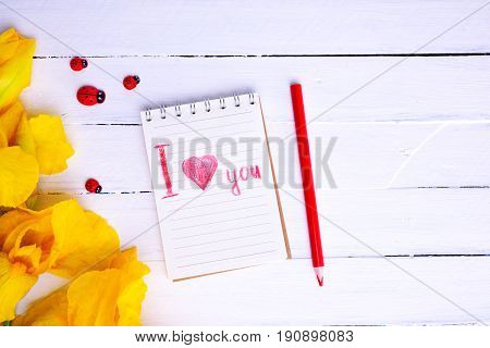 notebook with the inscription in red pencil and a bouquet of yellow iris top view