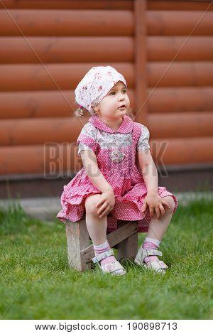 Portrait Of Pretty Little Girl In Kerchief, Summer