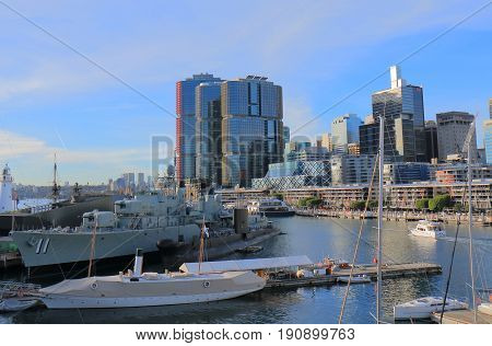 SYDNEY AUSTRALIA - MAY 30, 2017: HMAS Vampire moored in Darling Harbour. HMAS Vampire  is one of the first all welded ships built in Australia.