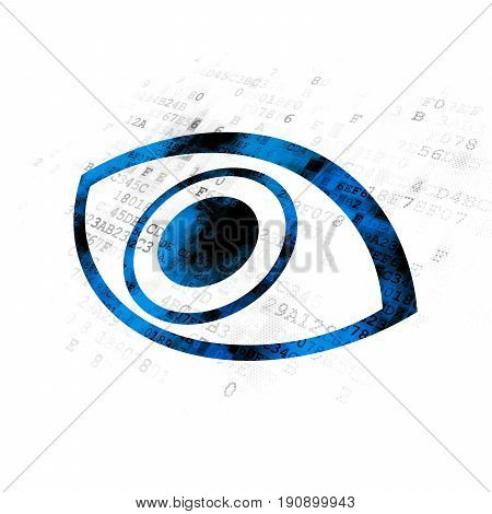 Safety concept: Pixelated blue Eye icon on Digital background