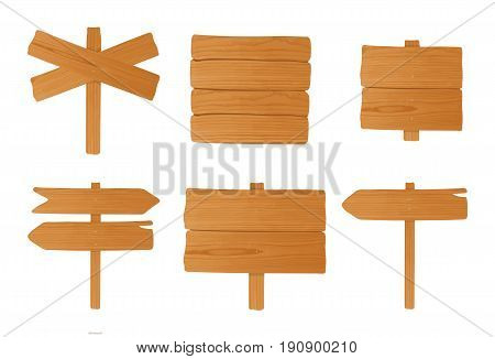 Set of different wooden signboards, pointers. Colorful empty signposts collection. Vector illustration in cartoon style