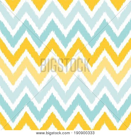 Seamless geometric pattern based on ikat fabric style. Vector illustration. Carpet rug texture vector imitation. Yellow and gray chevron pattern.