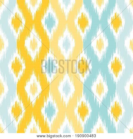 Seamless geometric pattern based on ikat fabric style. Vector illustration. Carpet rug texture vector imitation. Yellow and turquoise mint ogee pattern.