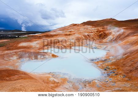 Awesome landscape on a sunny day. Sulfur springs at Leirhnjukur. Area Krafla volcano. Iceland