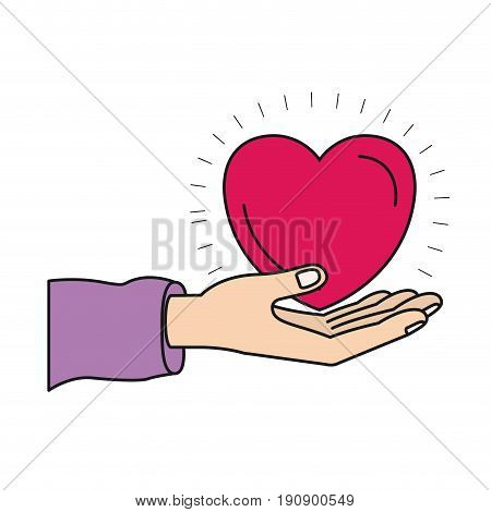 colorful silhouette hand palm giving a heart charity symbol vector illustration