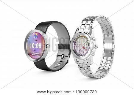 Smartwatch and silver wristwatch on white background, 3D illustration