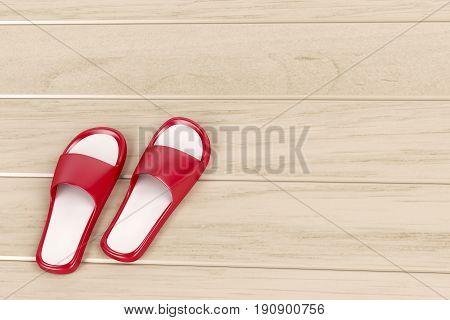 Red slippers on wooden floor, 3D illustration