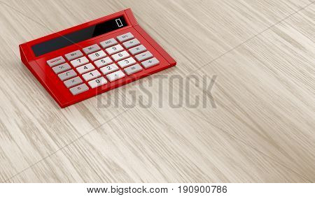 Red calculator on wooden table, 3D illustration