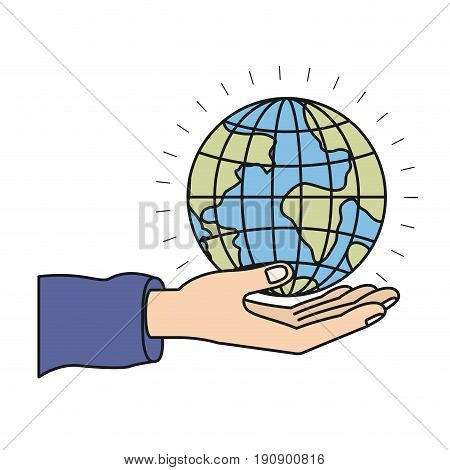 colorful silhouette hand palm giving a earth globe world charity symbol vector illustration