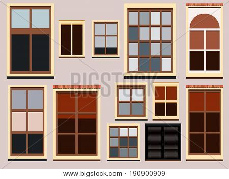 Set of house windows, collection design constructor elements.