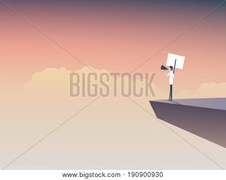 Protester speaking through megaphone or bullhorn and holding a placard, banner vector icon. Corporate background. Symbol of activism, demonstration. Eps10 vector illustration.