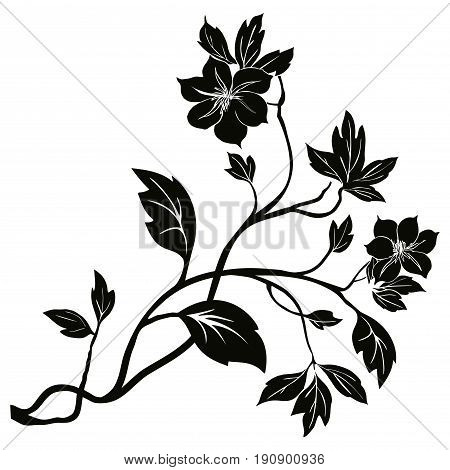 Vector illustration of a tree branch with flowers and leaves.