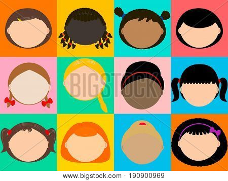 Woman fashion hairstyle constructor set, colorful  squares background.  Long, short, curly hair. Blond, brunet, red hair.