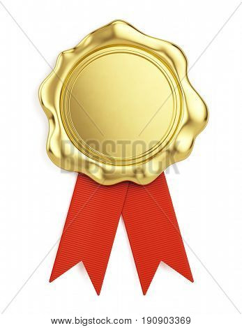 Blank golden wax seal with red ribbon isolated on white background. 3d illustration