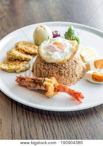Tiger prawn fried rice with fried egg and salt egg