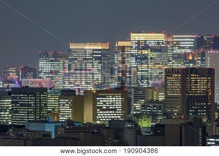 Tokyo mid town Skyline cityscape night Japan