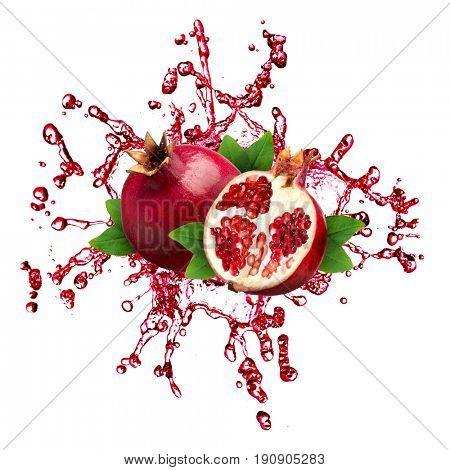 Extreme close-up image of pomegranate splash