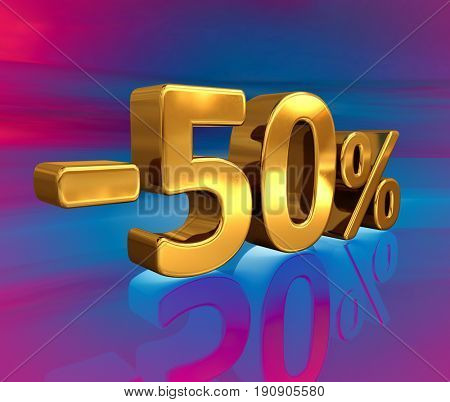 3d render: Gold -50%, Minus Fifty Percent Discount Sign
