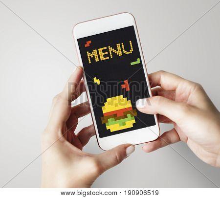 8 bit illustration of tasty burger meal on mobile phone
