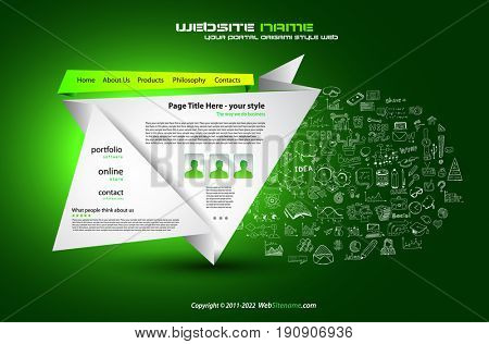 Modern Style Origami Web Template Design with Infographic design elements on the background made by hand drawn sketches.