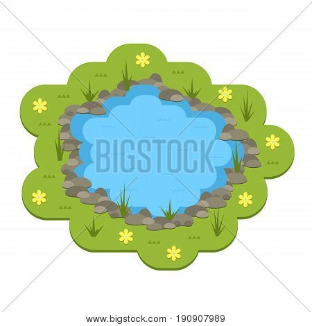 Cartoon vector garden pond illustration with water, plants and animals. Isolated summer pond life clipart in flat style.