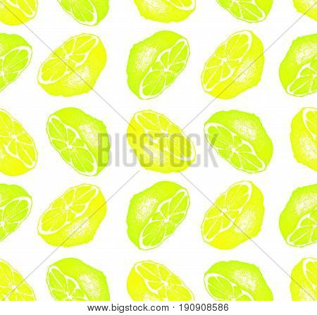 Lemon slices and Lime slices isolated on white background. Hand-drawn illustration. Raster seamless pattern. Isolated fruit halves seamless pattern