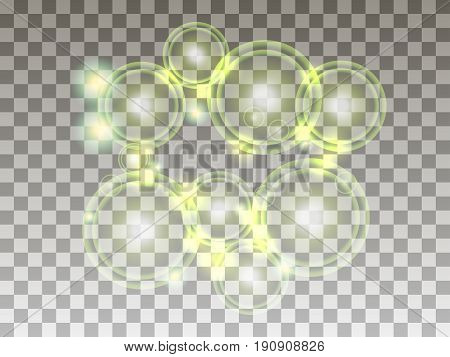 Circles On A Transparent Background. Bubbles Are Green. Bright Spheres. Vector Illustration